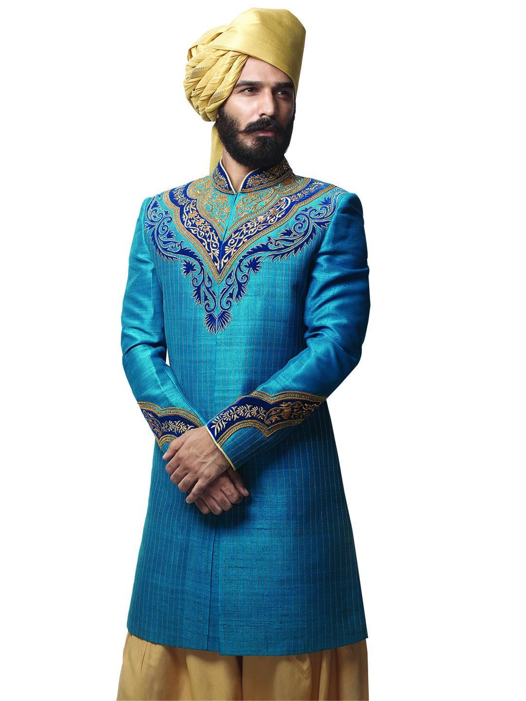 G3 Exclusive Raw Silk Blue Wedding Wear Men Indo Western   sherwani ...