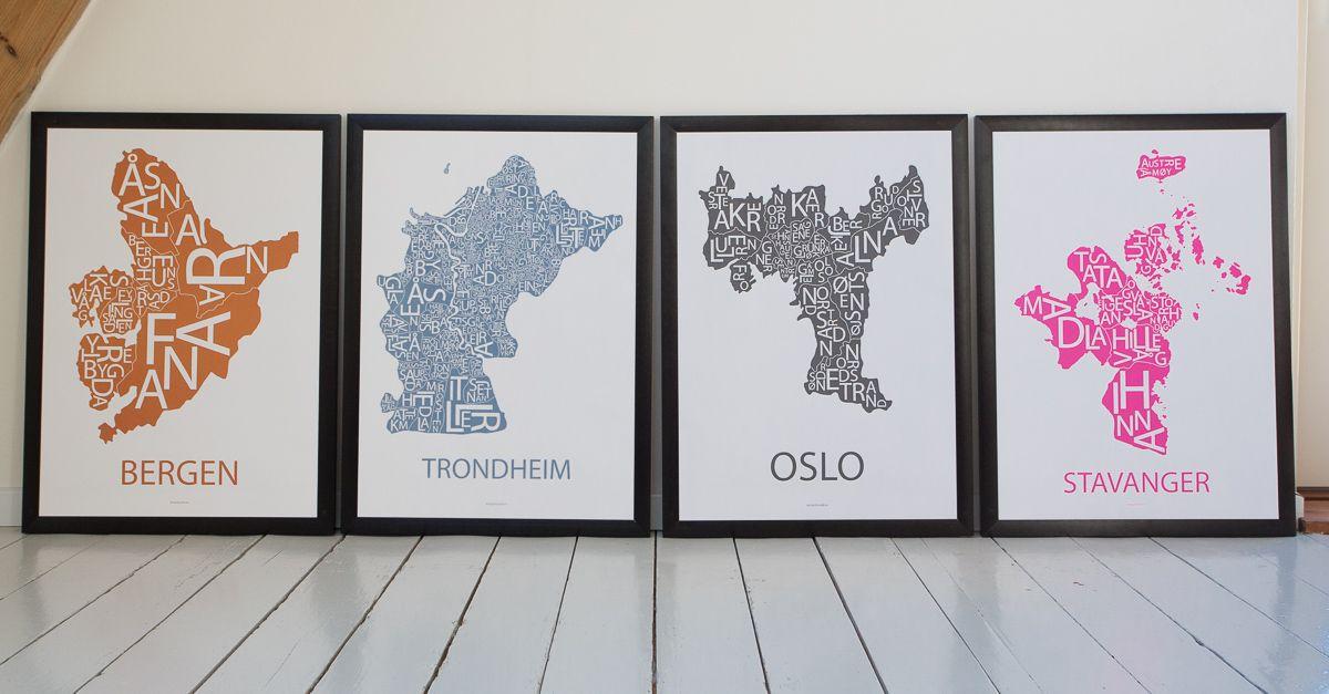 kart trondheim oslo Plakater med typografiske kart av Bergen, Trondheim, Oslo og  kart trondheim oslo