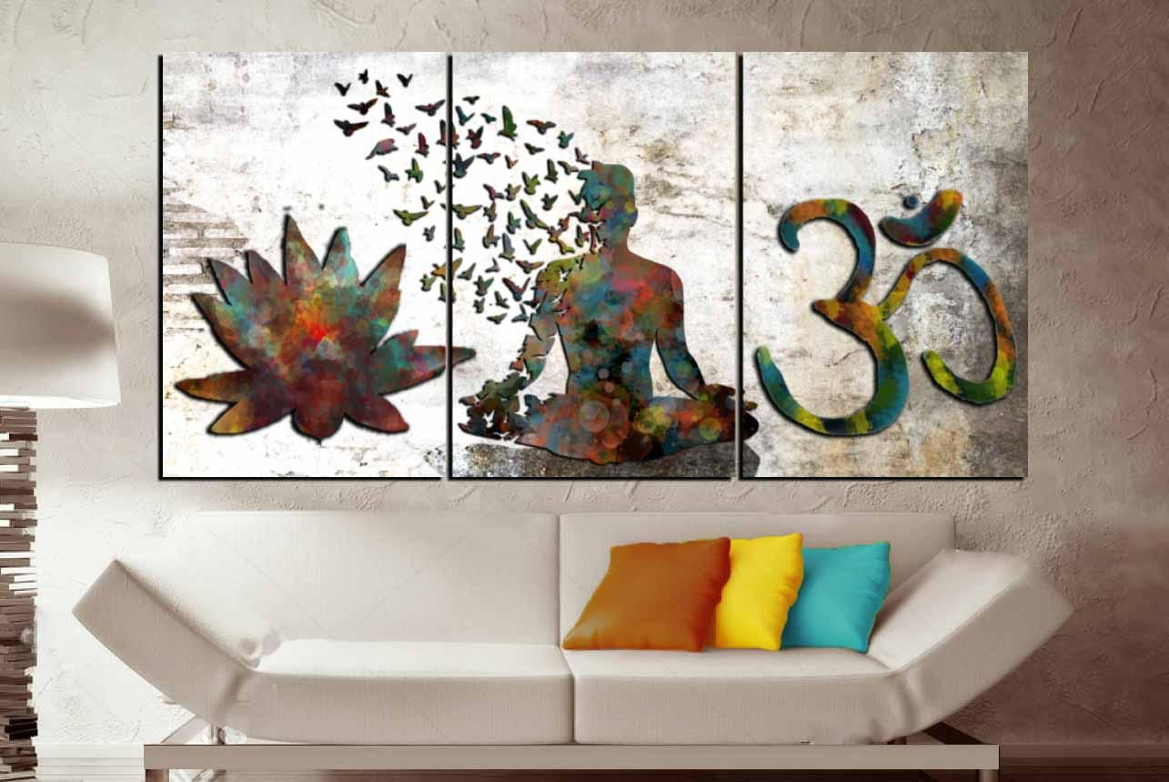 3 panel watercolor buddha wall artyoga canvas art print