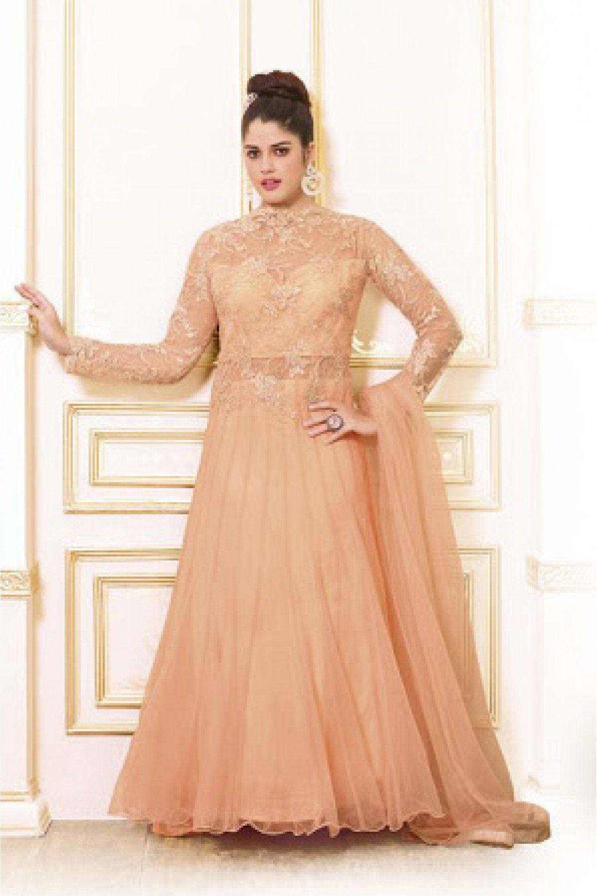 Net semi stitched party wear gown in peach colour kids