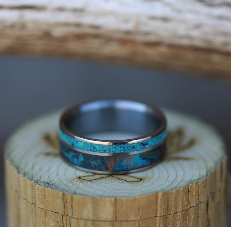 Patina Copper Turquoise Set In Titanium Wedding Band Available