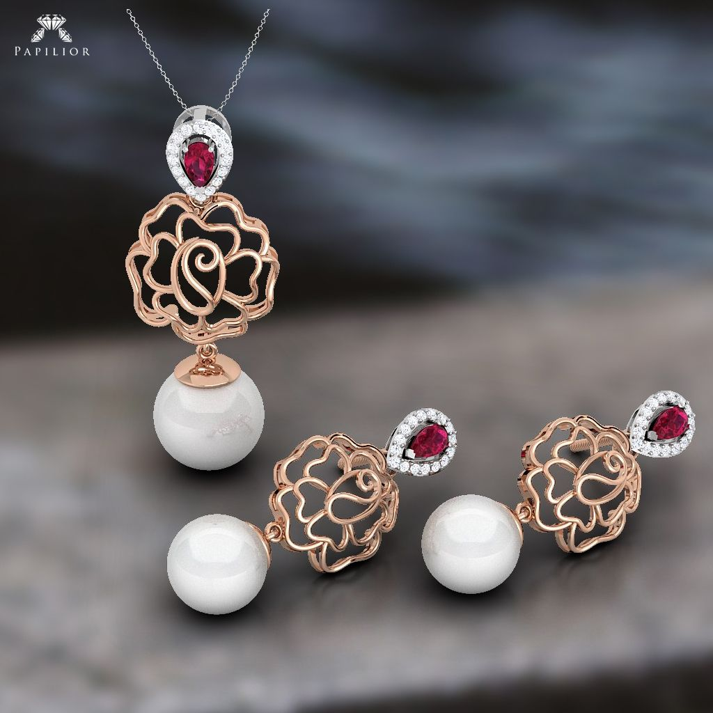 Buy claret pearl pendant set at best price colorstone jewellery