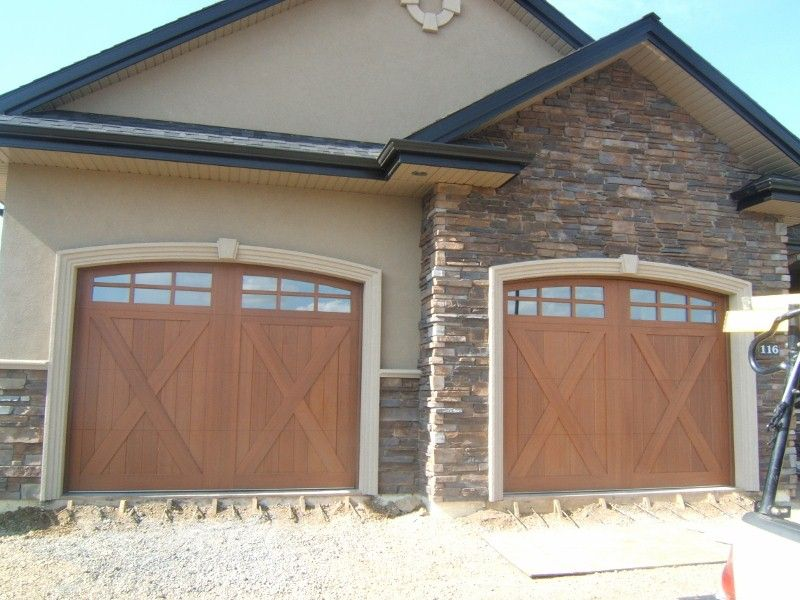 This Is The 10 X 8 Canyon Ridge R20 4 Design 21 Door Mahogany Cladding Mahogany Overlay Arch 3 Top Section Factory Overhead Garage Door Garage Doors Cladding