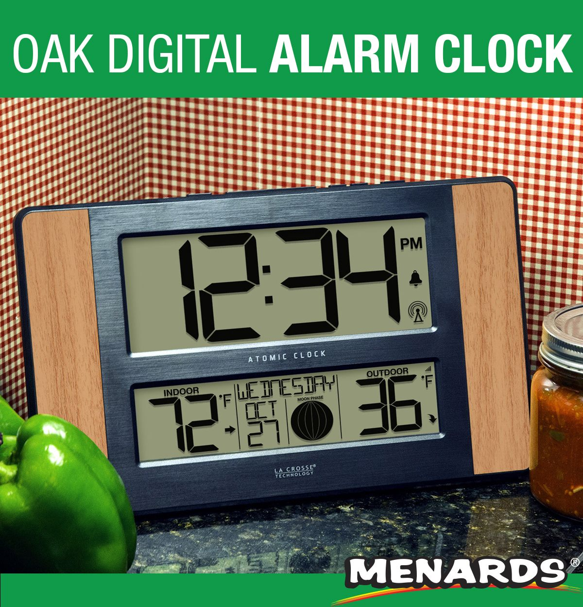 The La Crosse Technology Atomic Digital Clock Features Indoor Outdoor Temperature 12 Moon Phase Icons 12 Hour Time Dis Digital Clocks Simple Solutions Clock