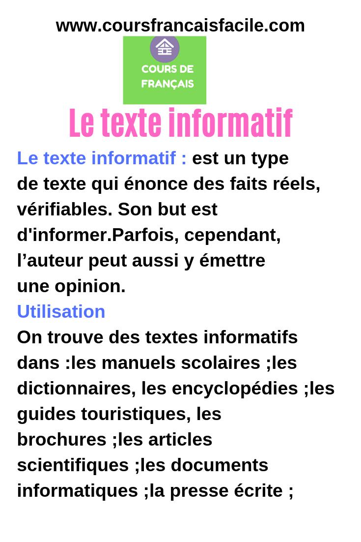 Le Texte Informatif Apprendre Le Francais Types De Textes Texte Descriptif