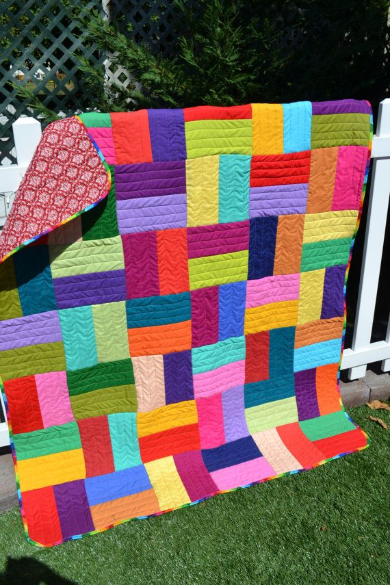 modern rainbow quilt primary colors bold graphic pixel hipster hip
