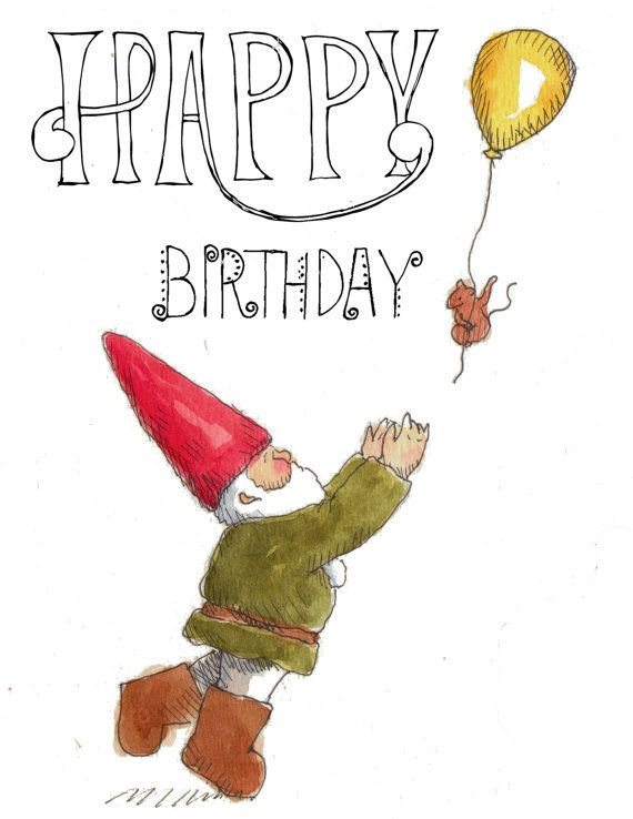 Happy Birthday Gnome Birthday Gnotecard By By Inkandlace On Etsy