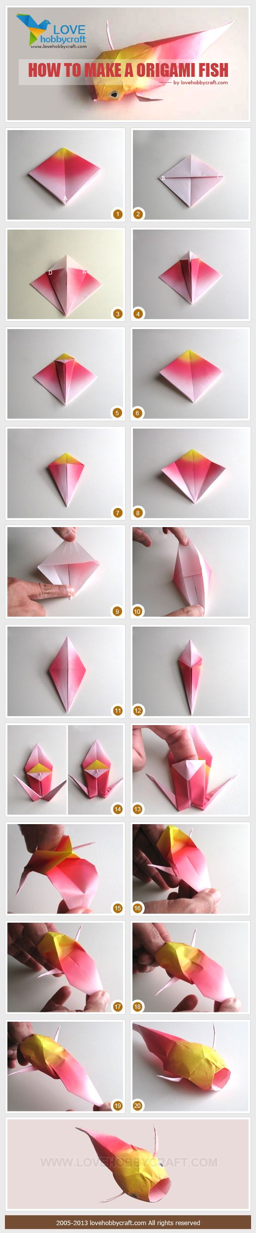 Origami fish instructions paper art pinterest will for Origami fish instructions