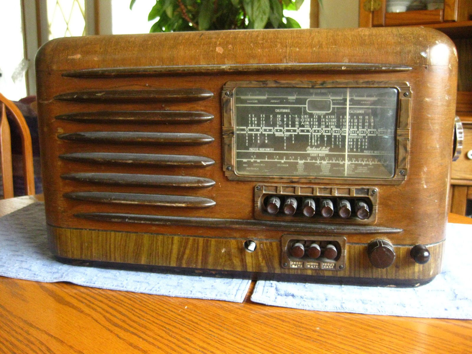 Antique Packard Bell 48d Old Wood 8 Tube Radio Restore Parts Eye Powers Up Old Radios Old Wood Radio