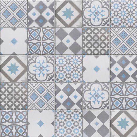 Mosaique Sol Et Mur Gatsby Decor Gris Et Bleu Carreaux De Ciment Salle De Bain Imitation Carreaux De Ciment Decoration Gris