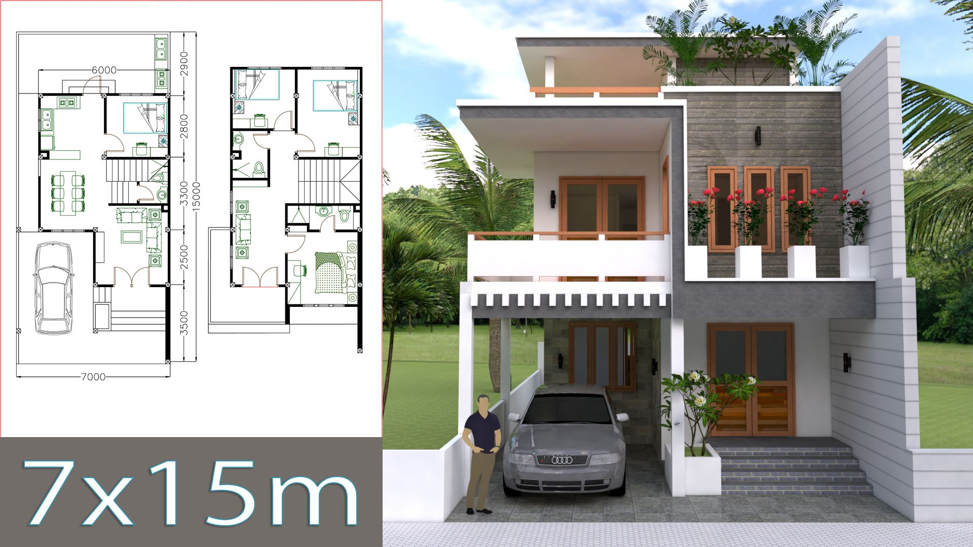 Home Design Plan 7x15m With 4 Bedrooms Small House Design