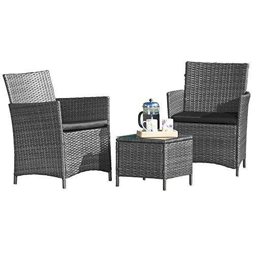 3 Piece Grey Rattan Set High Quality Wicker Garden Set Conservatory Outdoor  Patio Furniture (Grey) Part 82