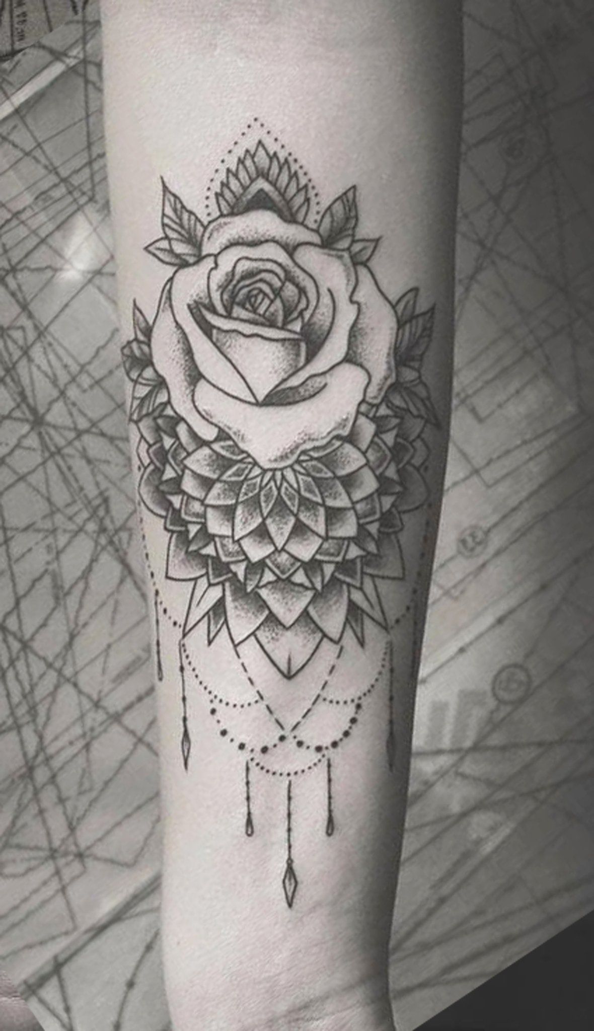 Boho Black Rose Chandelier Forearm Tattoo Ideas For Women Mandala Lotus Flower Arm Slee Tattoos For Women Half Sleeve Sleeve Tattoos For Women Sleeve Tattoos
