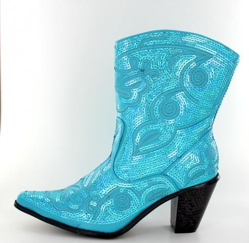 NEW HELENS HEART SHORT TURQUOISE SEQUIN COWBOY BOOTS SIZE 6 10 9 11 7 8