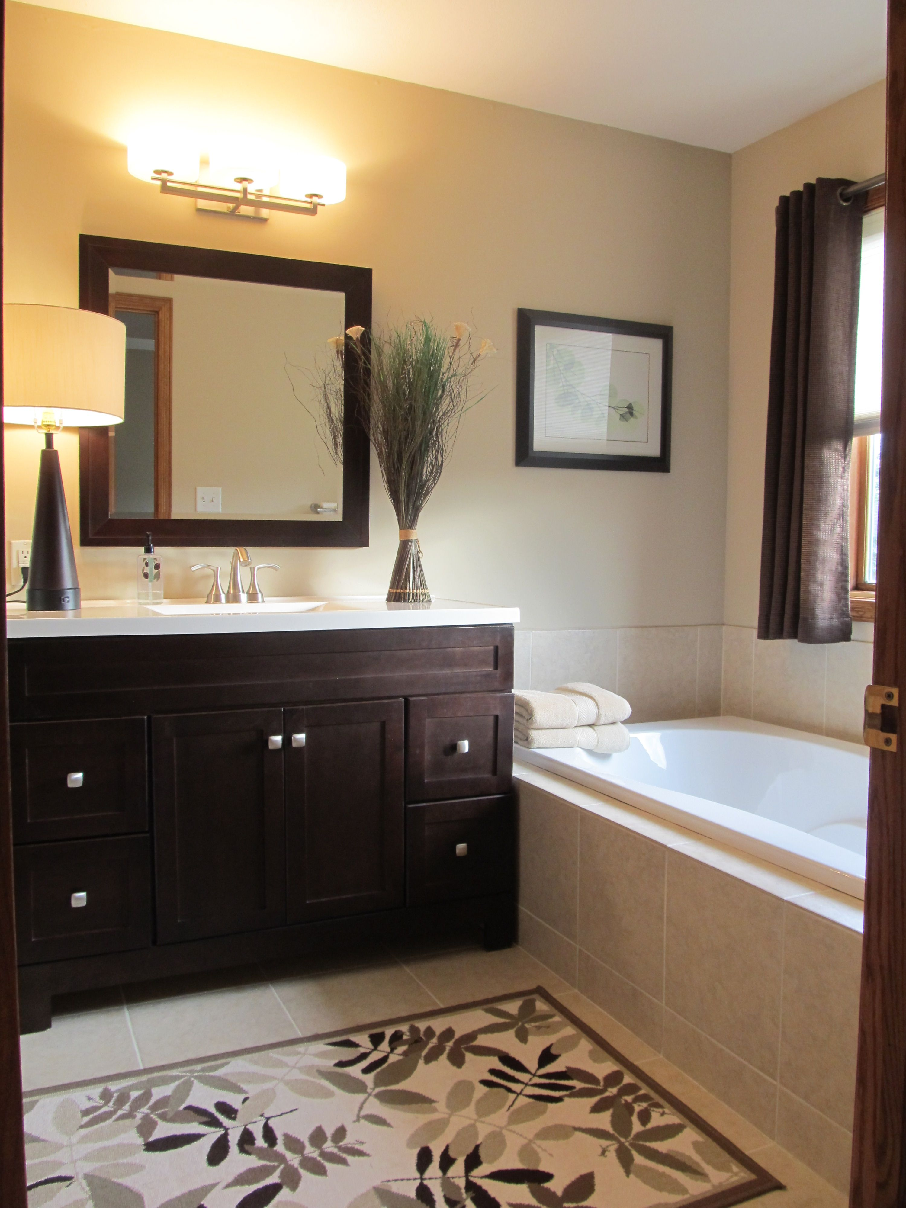 Master Bath Light Wall Color Dark Cabinets Brown Bathroom