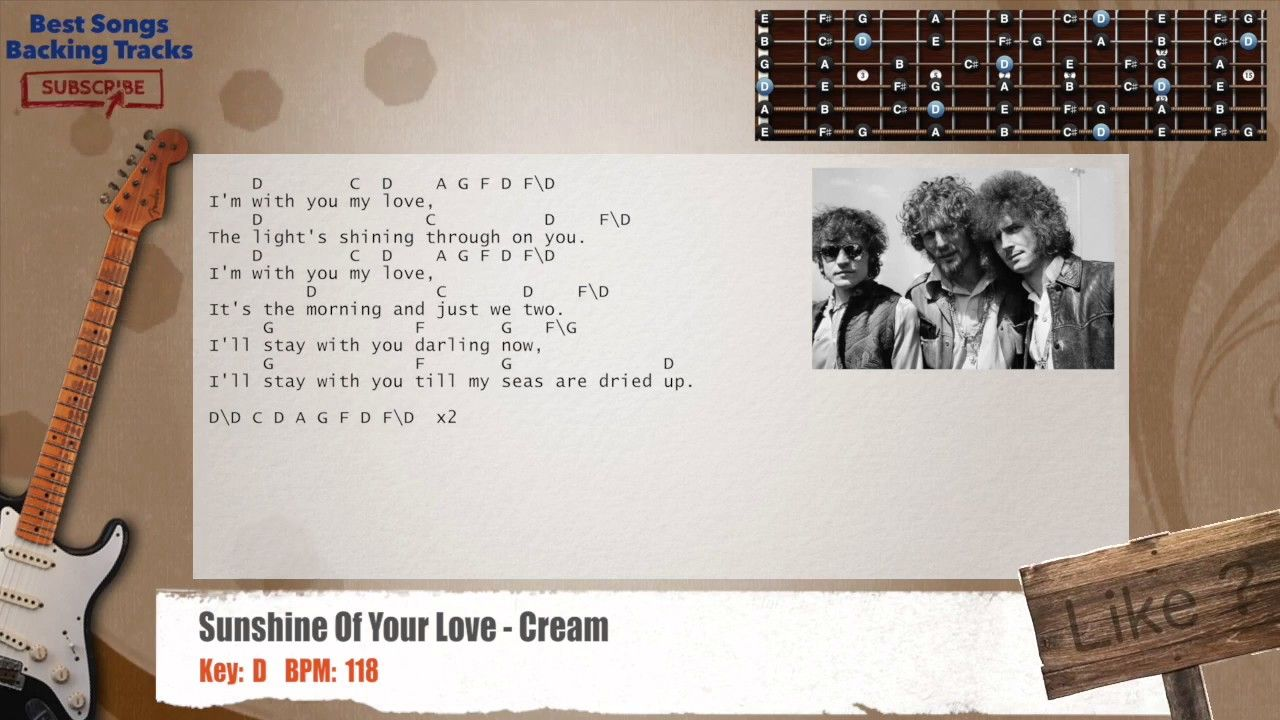 Sunshine Of Your Love Cream Clapton Guitar Backing Track With
