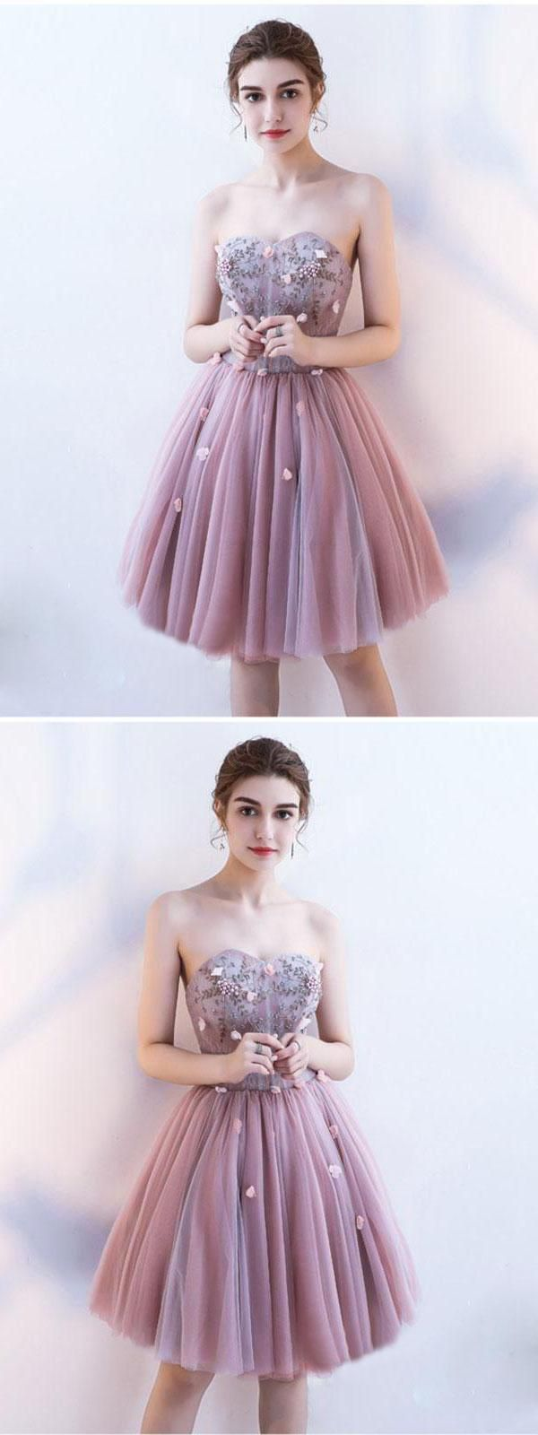 Custom made fetching prom dress for cheap pink homecoming dress