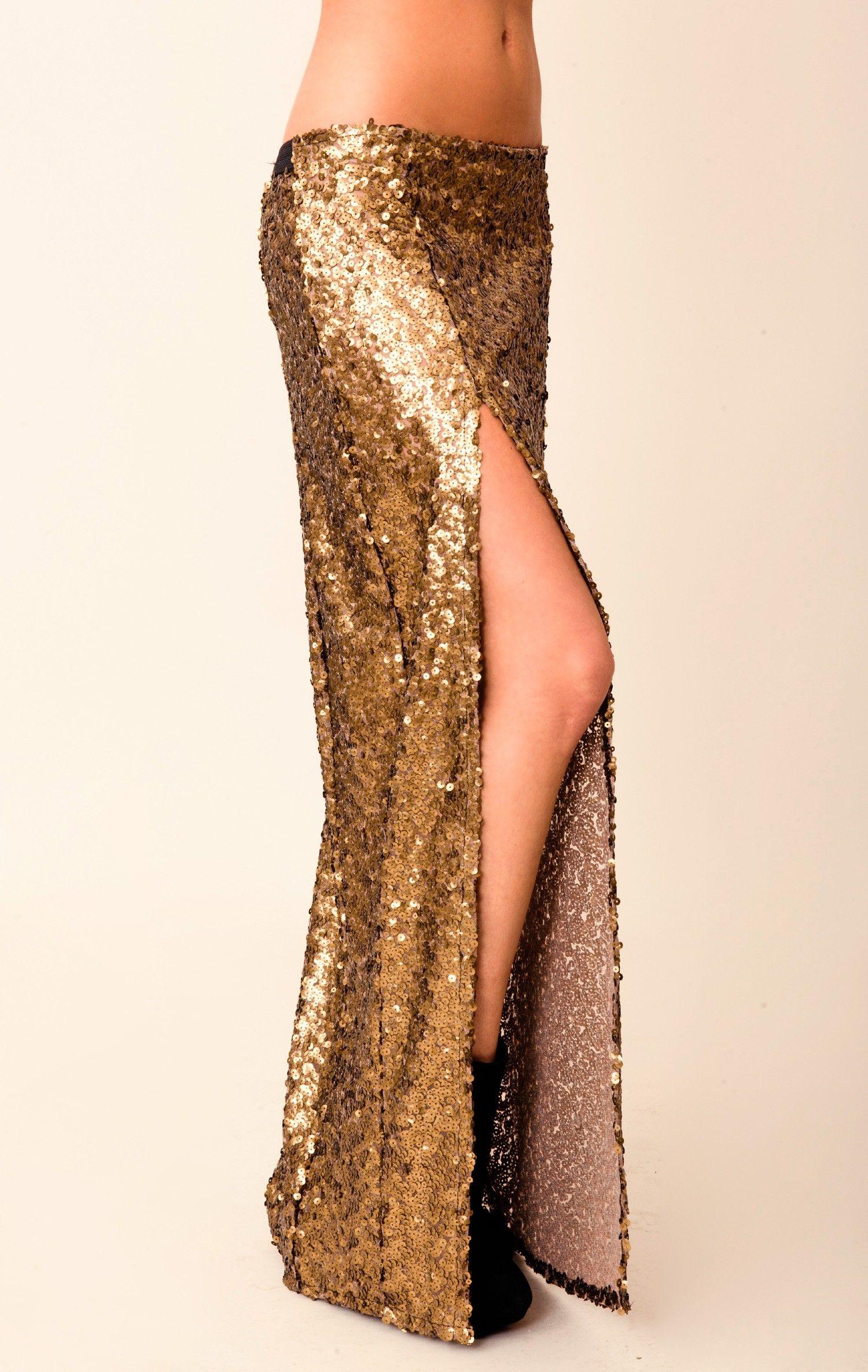 8aaf015c New sequin slit skirt | OBSESSED WITH ME | Slit skirt, Fashion, Gold ...