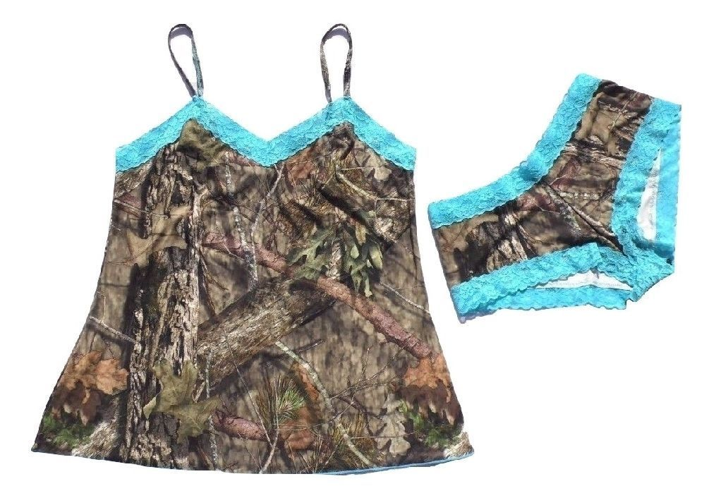 a4ab968bc002a Mossy Oak Womens Thong Pantie Breakup Country Camo With Aqua Trim In  Organza Bag