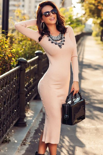 18e3d951c6e6 Light Pink Ribbed Bodycon Long Sleeve Back Midi Dress Sweater Dress ...