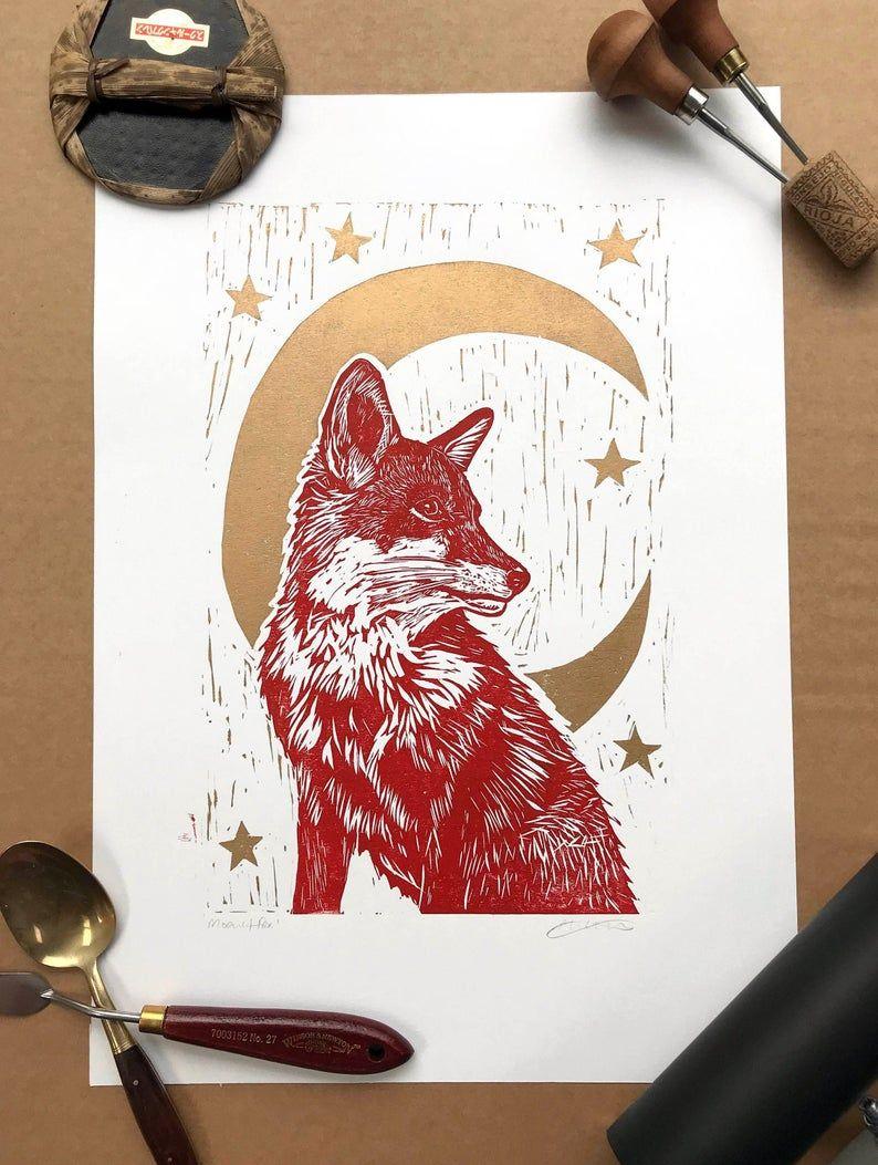 Fox Linoprint Moonlit Fox Original handprinted unframed | Etsy