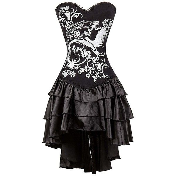 Killreal Women's Steampunk Gothic Corset Dress Halloween Costume (£28) ❤ liked on Polyvore featuring costumes, dresses, lady halloween costumes, steam punk costume, steampunk costume, gothic lolita costume and steampunk lady costume