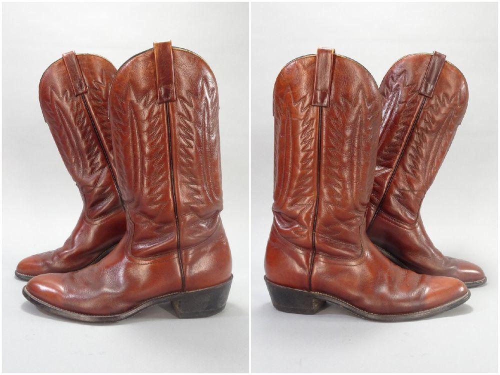 b3d6d10d428 Masons Brown Leather Cowboy Boots, Size 11D, 1970s Vintage Western ...