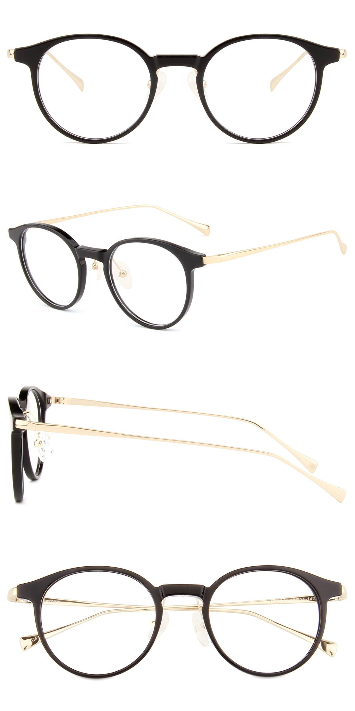 YC2040Black and Gold Retro glasses, Glasses fashion