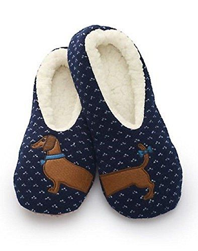 Sherpa Women S Blue Wiener Dog Slippers Dachshund Slippers