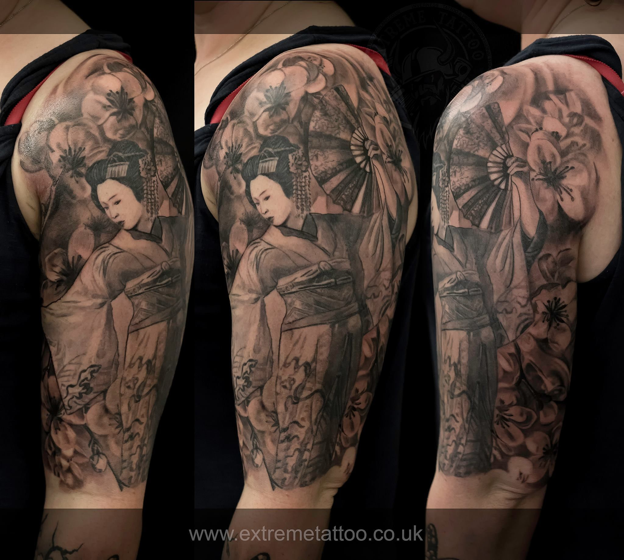 Geisha tattoo, done at Extreme Tattoo&Piercing Inverness