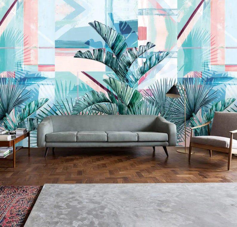 Rainforest Banana Palm Tree Mural Wallpaper Bathroom