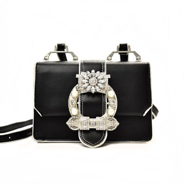 338a2f852e Rhinestone Faux-Leather Shoulder Bag (100 BRL) ❤ liked on Polyvore ...