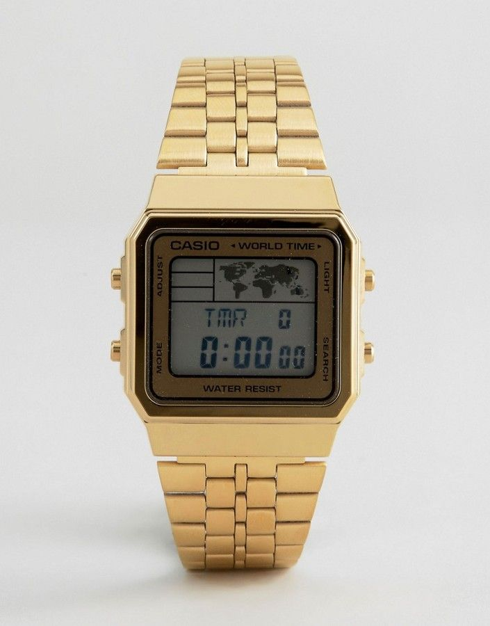 Casio Digital Map Watch In Gold A500wa 1df Men S Watches And Jewellery