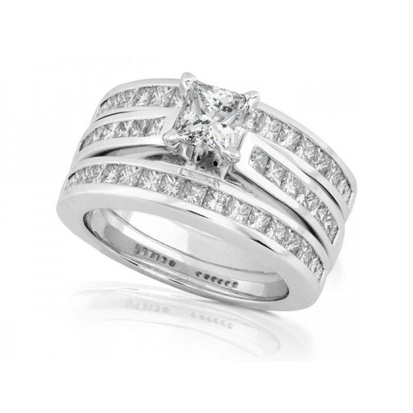 Charmant Princess Wedding Ring Sets | ... Rings U003e Bridal Sets U003e 3 Carats Princess