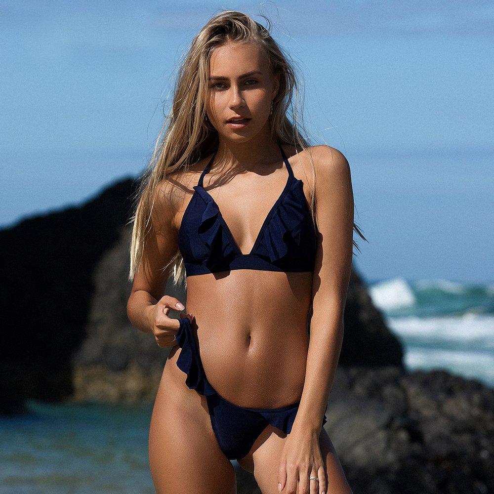 2edae9435e2 Product Description  Buy Spring Summer 2018 Swimwear Trends Women s Classic  Ruffled Sold Color Bikini Set Bathing Suit Beachwear on Sale by PesciModa  ...