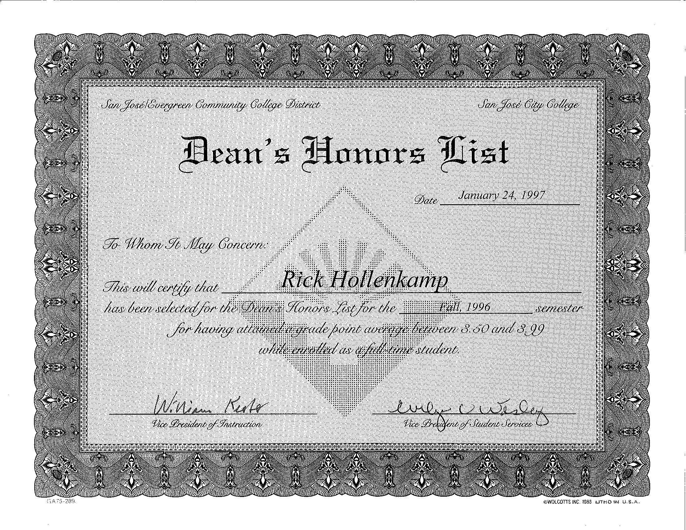 Dean's Honor List Award Social security card, Letter of