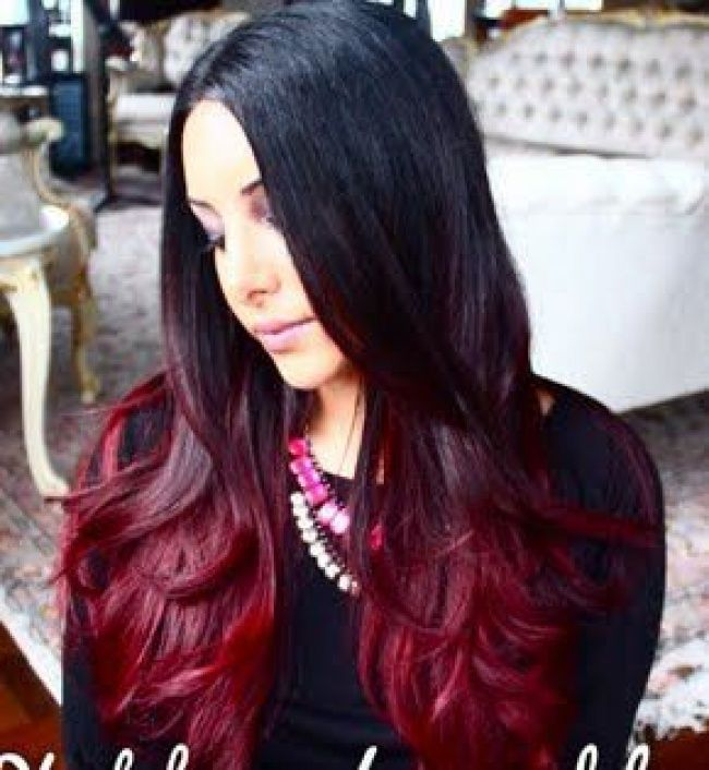 Ombre Hair Sur Base Brune La Couleur Qui Cartonne En 2016 54 Photos Tendance Coiffure Cheveux Noir Et Rouge Idee Couleur Cheveux Cheveux Tres Colores