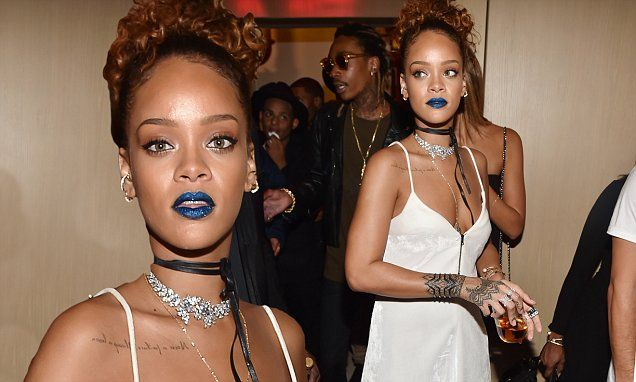 Rihanna hosts NYFW party showcasing perfect pout with cyan lipstick