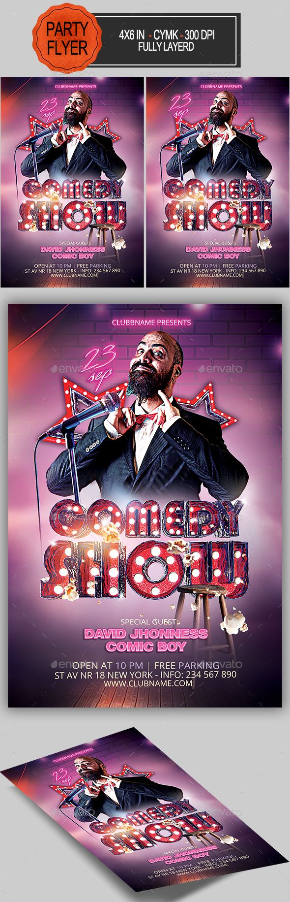 Comedy Show Flyer  Flyer Template And Fonts