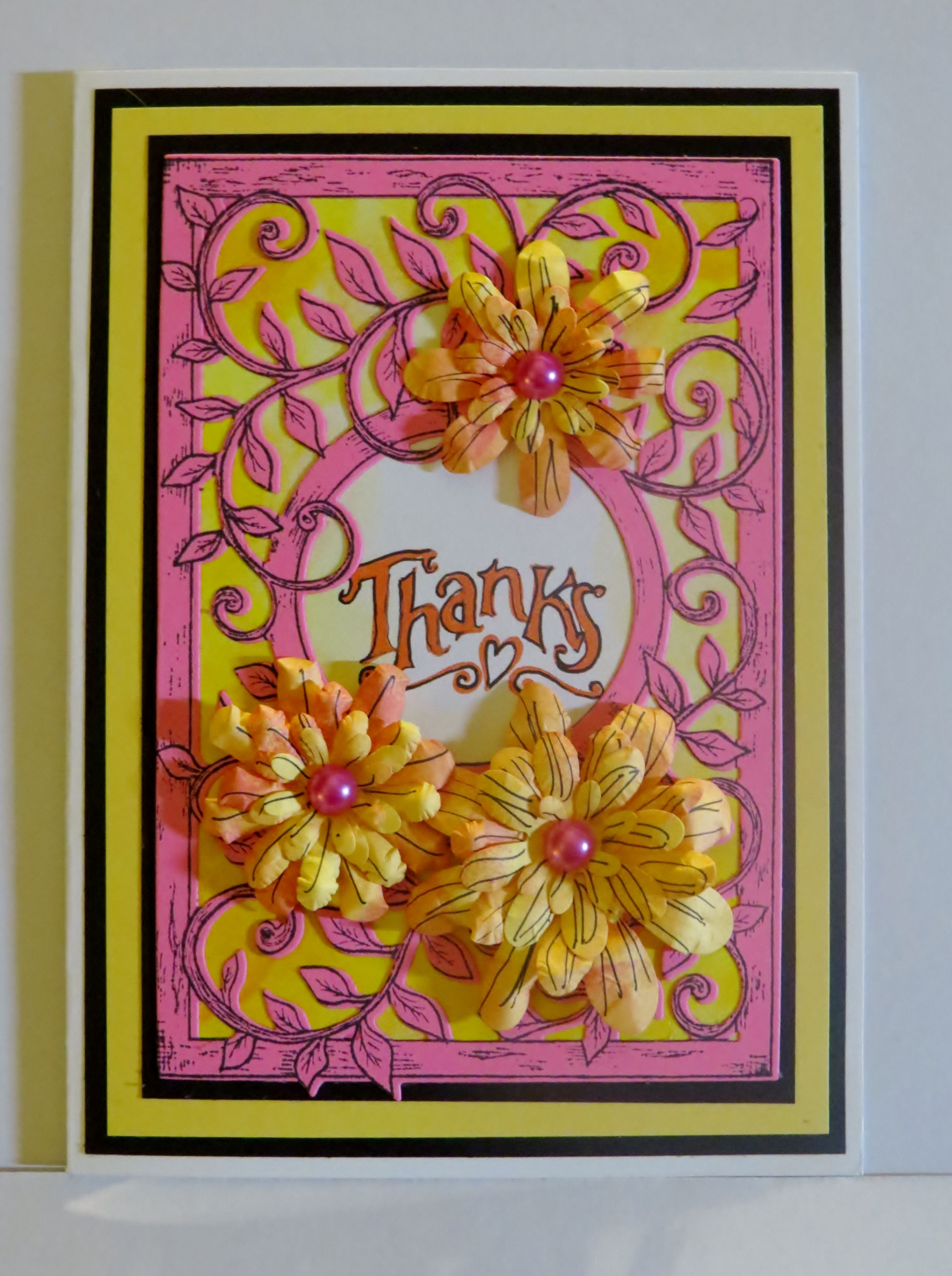 Pink And Yellow Thanks Handmade Greeting Card Joannes Cards