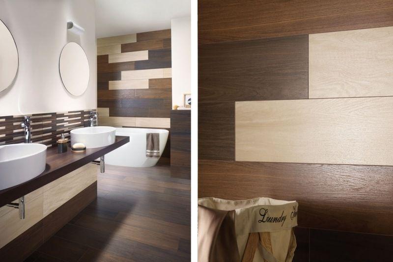 Badezimmer Fliesen in Holzoptik in beige und braun  Badezimmer  Pinterest  Badezimmer Bad