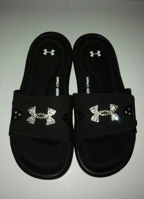b522f4204c3b Bedazzled Under Armour Slides