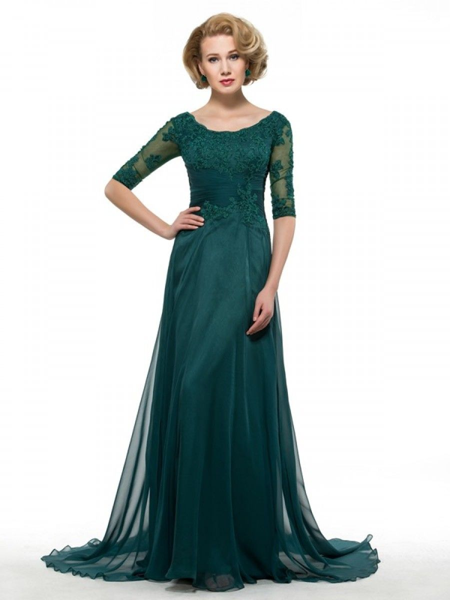 Half Sleeves Lace Chiffon Long Mother of The Bride Dresses ...