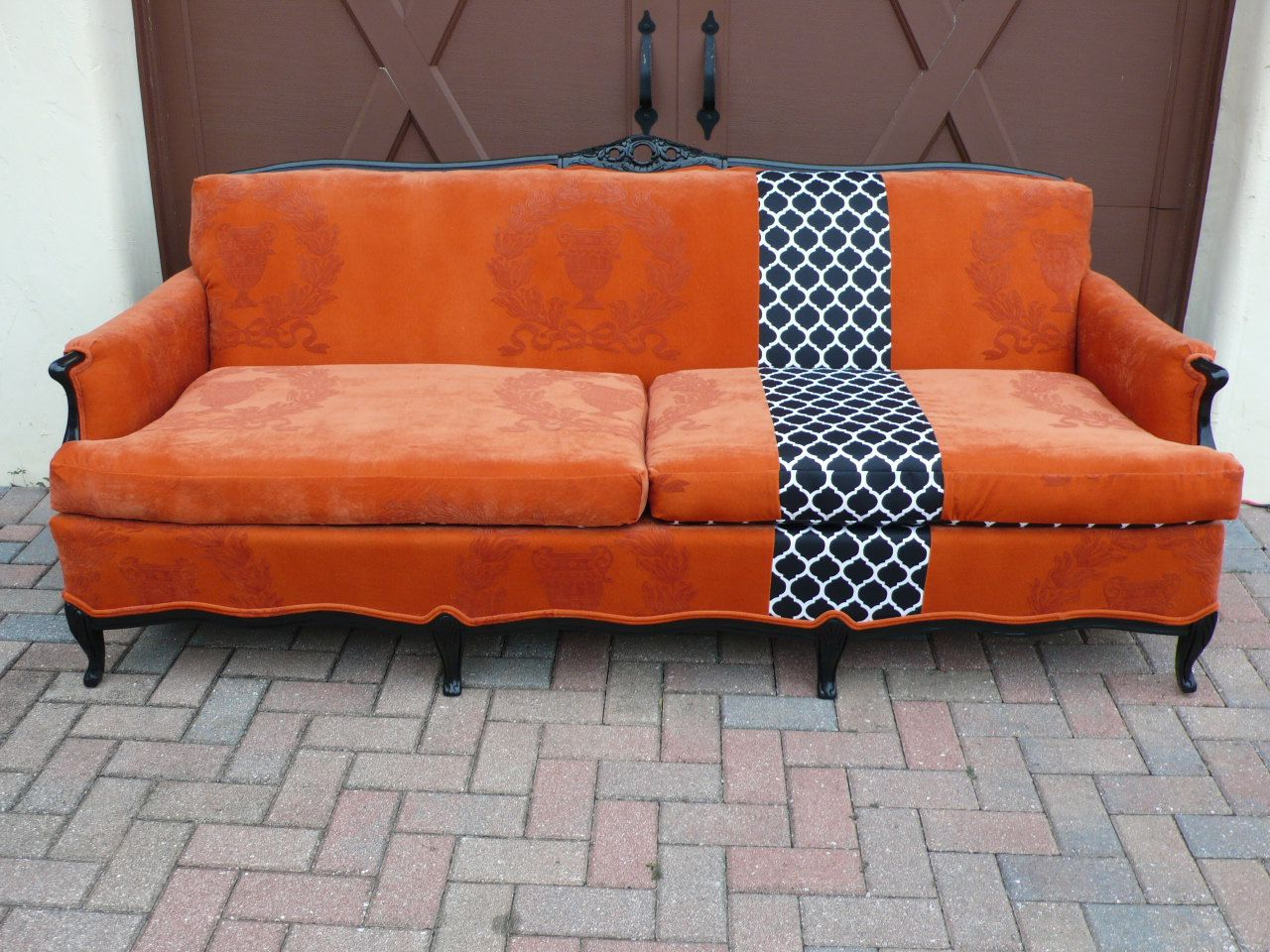 Orange French Provincial Couch Sofa With Black And White Stripe
