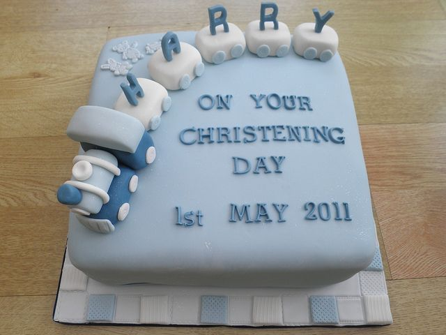 Boys Train And Carriages Cake Christening Baptism Cakeebakey Via Flickr