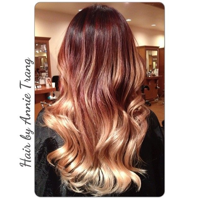 Dark Red With Blonde Dip Dye This Is The Length I Must Have Before I Tip My Hair Hair Heart Hair Hair Beauty