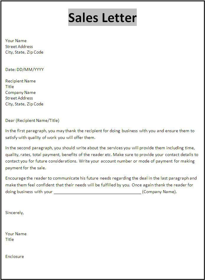 Sales Letter Template | Templates | Pinterest | Letter templates and ...