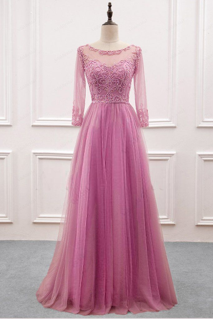Long Sleeve Beading Elegant Prom Dress,Long Prom Dresses,Prom ...