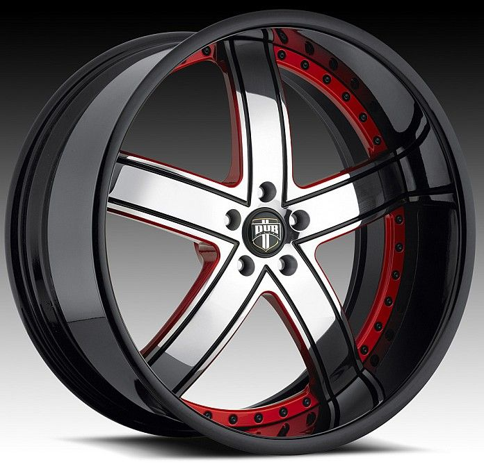 Custom Red And Black Rims Center With Red Accents And