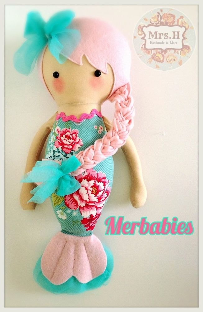 Very cute mermaid doll from mrs h makes. | Moldes Bonecas ...